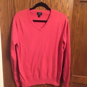 J. Crew salmon color v-neck sweater, size Small